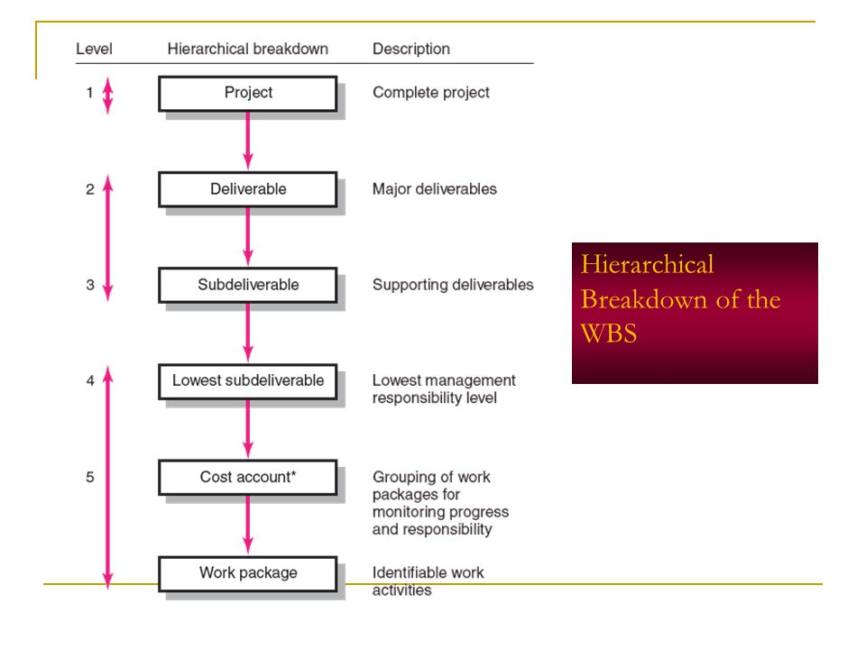 Hierarchical Breakdown of the WBS