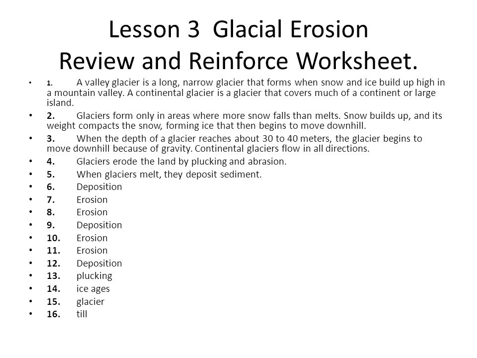 Lesson 3 Glacial Erosion Review and Reinforce Worksheet.