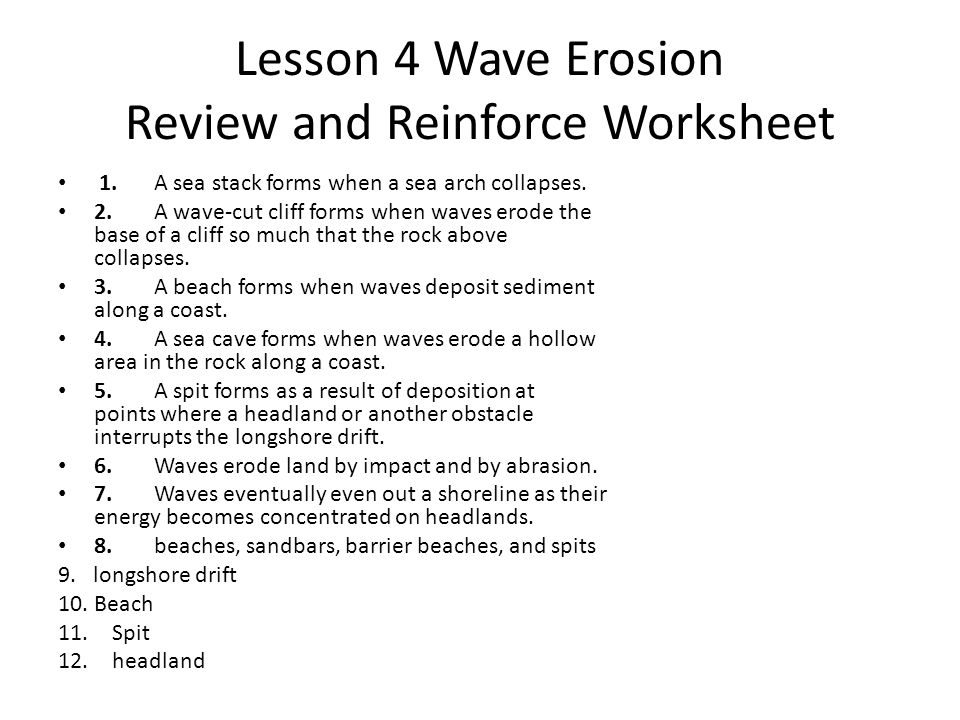 Lesson 4 Wave Erosion Review and Reinforce Worksheet