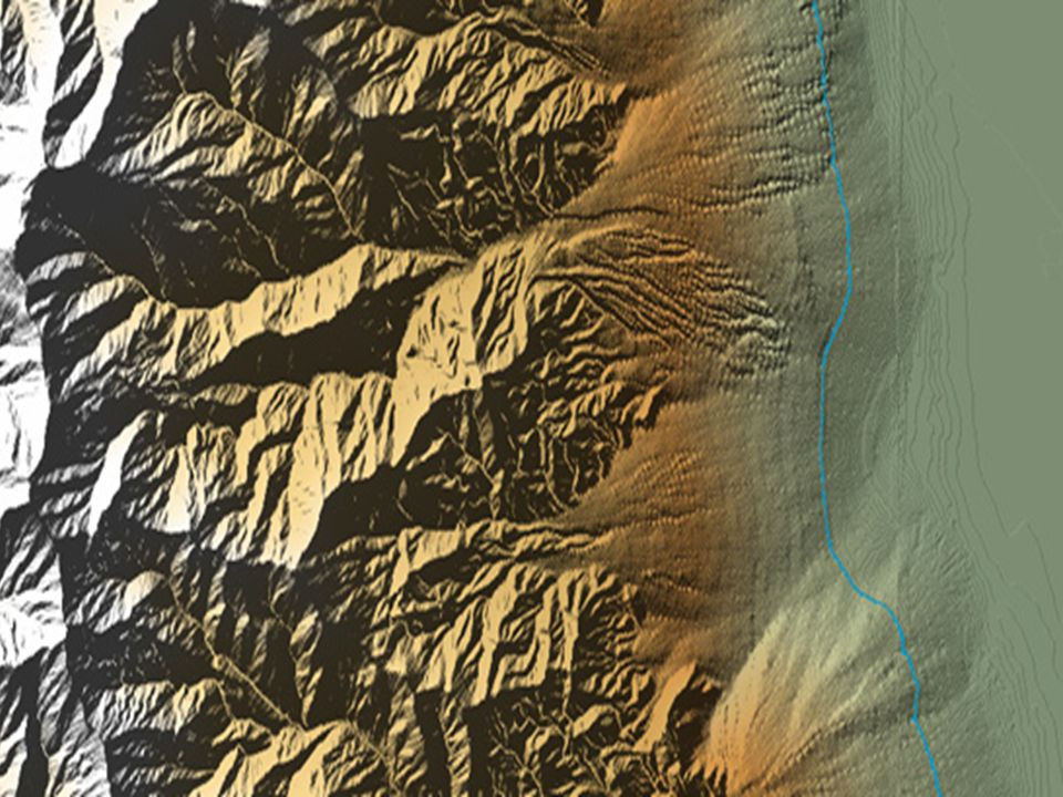 The following image was created from DEMs (Digital Elevation Model) for the following 1:24,000 scale topographic quadrangles: Telescope Peak, Hanaupah Canyon, and Badwater, California.
