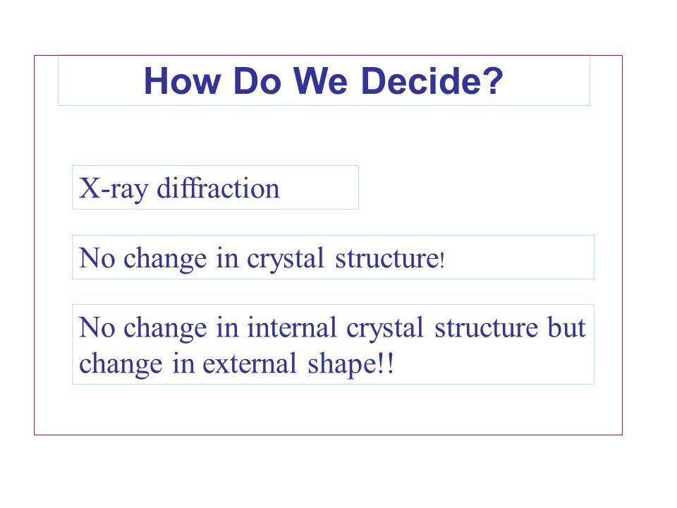 How Do We Decide X-ray diffraction No change in crystal structure!