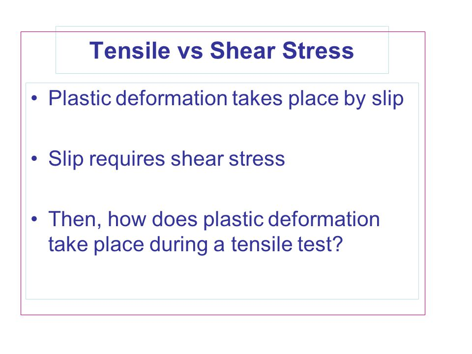 Tensile vs Shear Stress