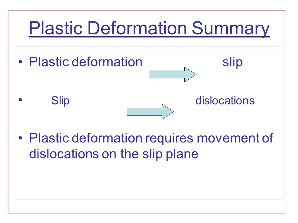 Plastic Deformation Summary