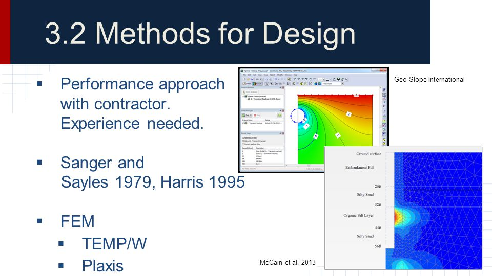 3.2 Methods for Design Performance approach with contractor. Experience needed. Sanger and. Sayles 1979, Harris 1995.