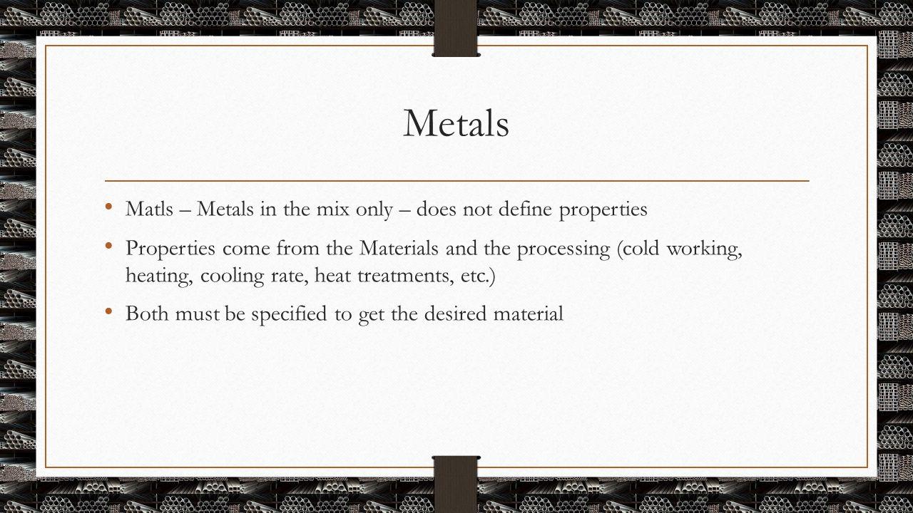 Metals Matls – Metals in the mix only – does not define properties