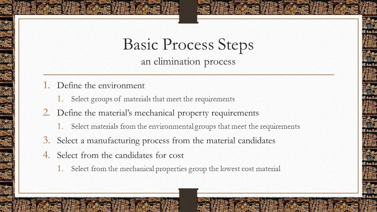 Basic Process Steps an elimination process