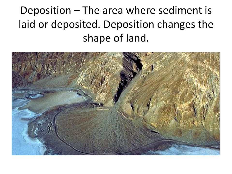 Deposition – The area where sediment is laid or deposited