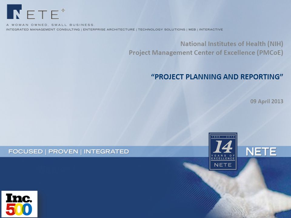 PROJECT PLANNING AND REPORTING 09 April 2013