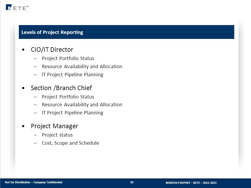 Levels of Project Reporting