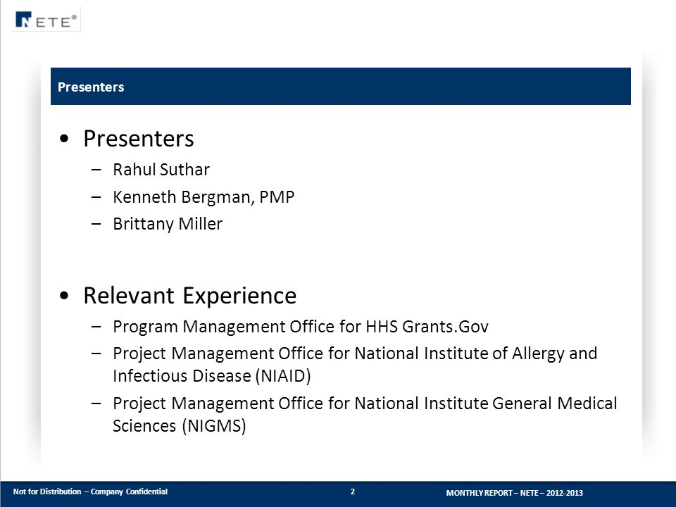 Presenters Relevant Experience Rahul Suthar Kenneth Bergman, PMP