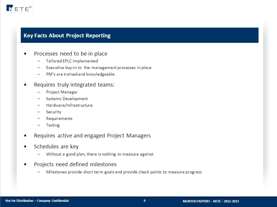 Key Facts About Project Reporting