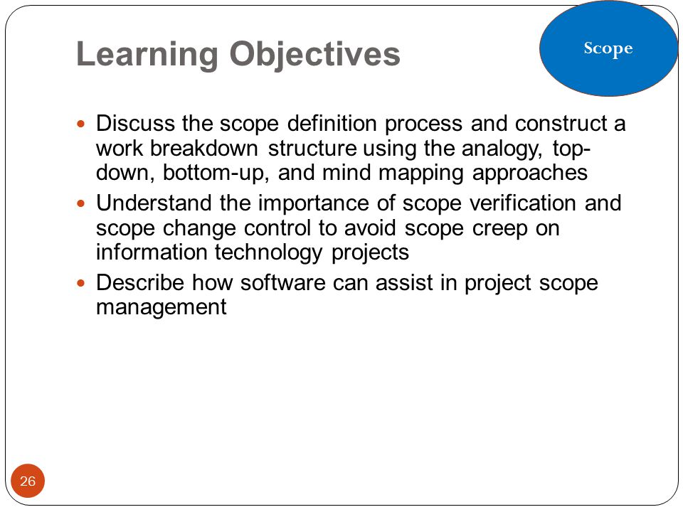 Scope Learning Objectives.