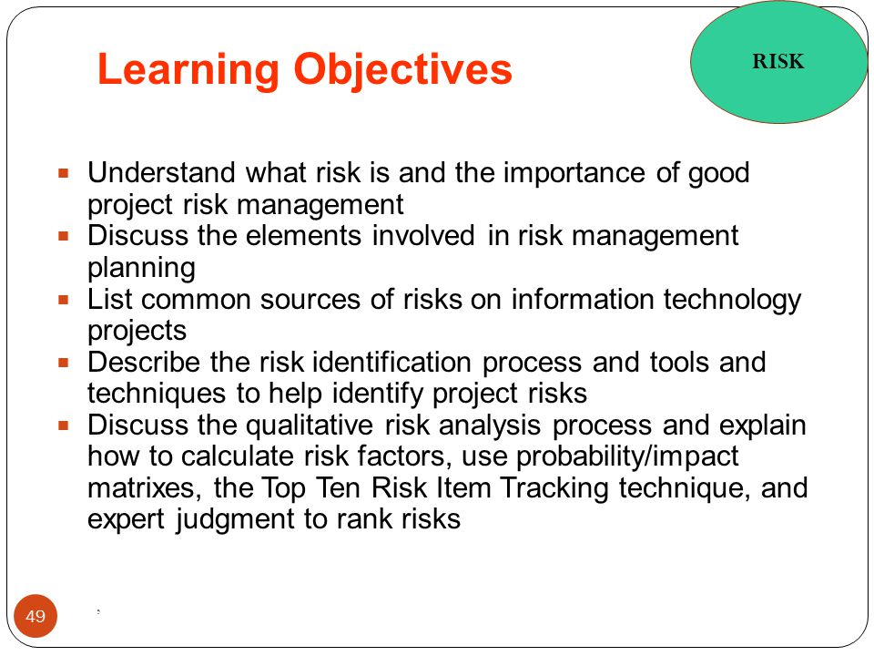 RISK Learning Objectives. Understand what risk is and the importance of good project risk management.
