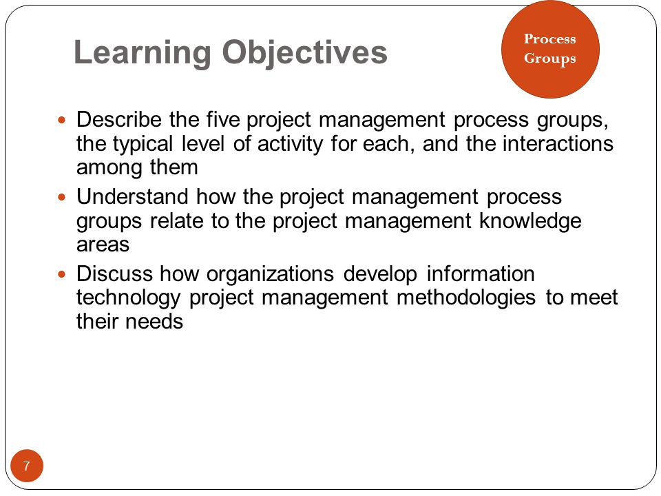 Process Groups. Learning Objectives.
