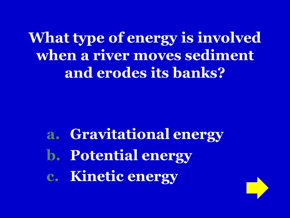 Gravitational energy Potential energy Kinetic energy