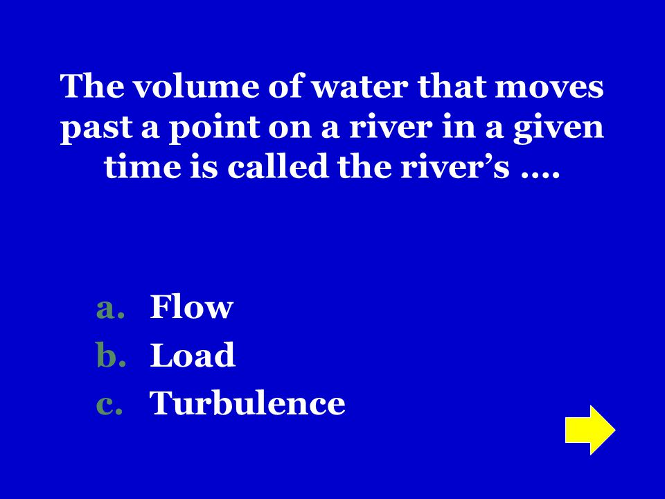 The volume of water that moves past a point on a river in a given time is called the river's ….