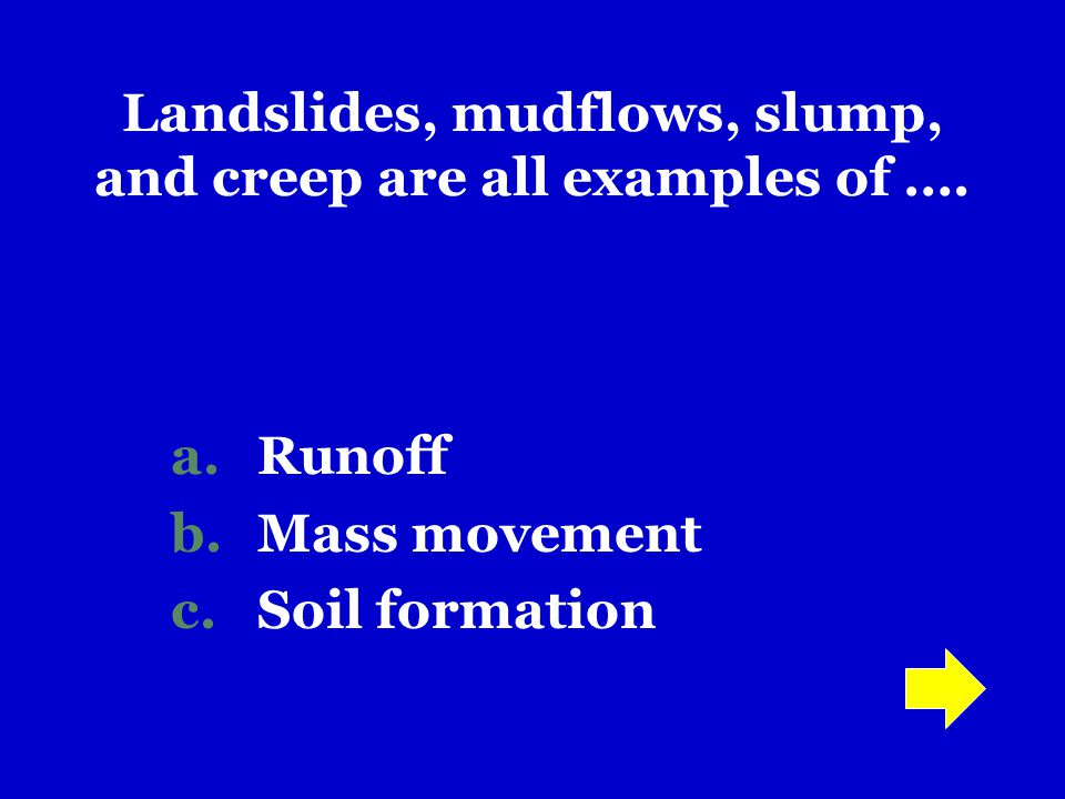 Landslides, mudflows, slump, and creep are all examples of ….