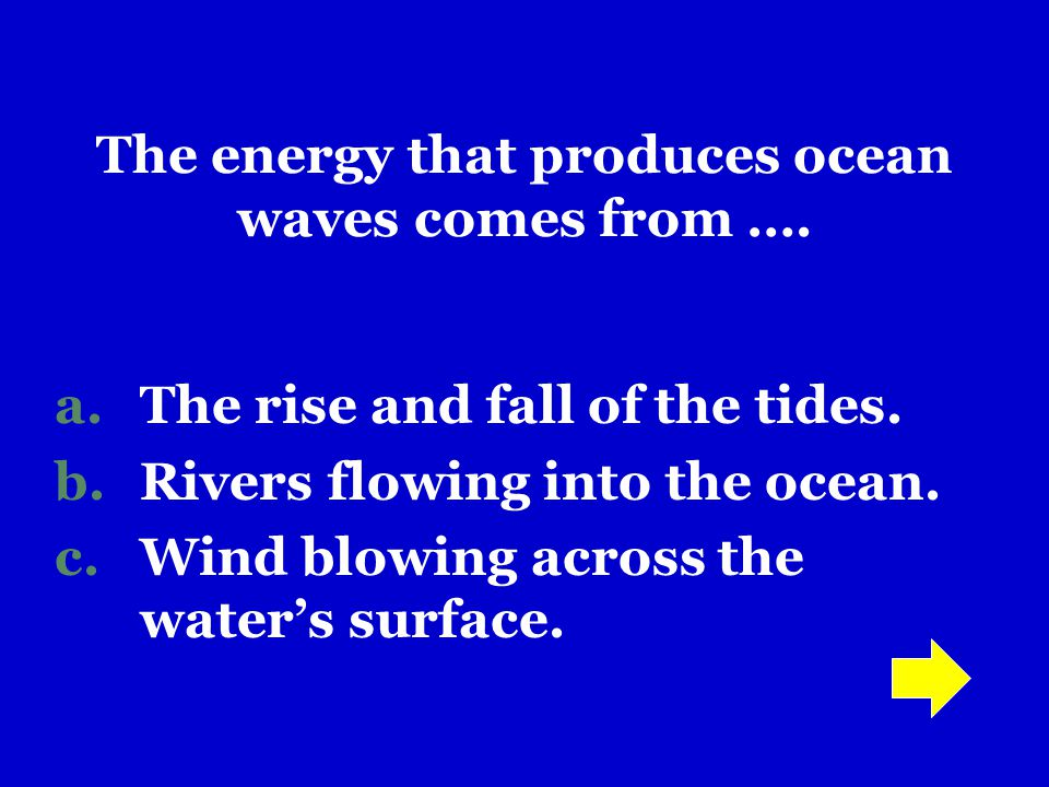 The energy that produces ocean waves comes from ….