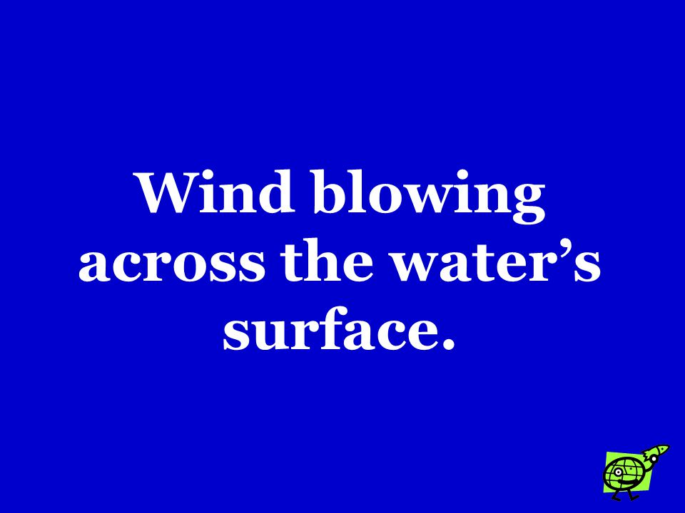 Wind blowing across the water's surface.