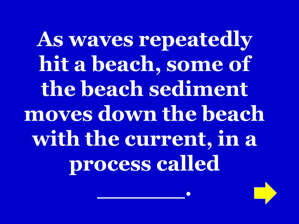 As waves repeatedly hit a beach, some of the beach sediment moves down the beach with the current, in a process called ______.