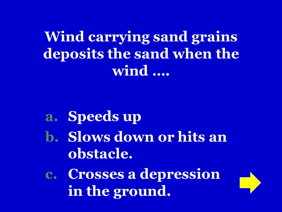 Wind carrying sand grains deposits the sand when the wind ….