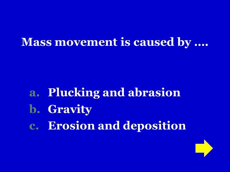 Mass movement is caused by ….