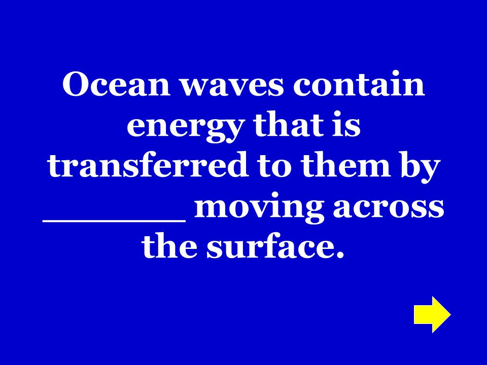 Ocean waves contain energy that is transferred to them by ______ moving across the surface.