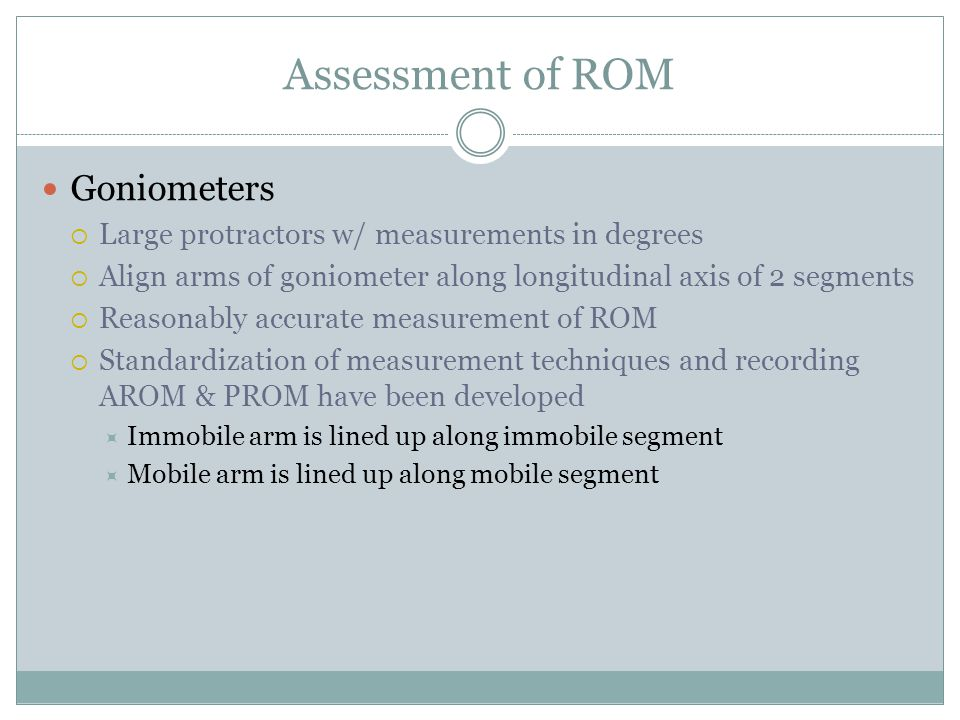 Assessment of ROM Goniometers