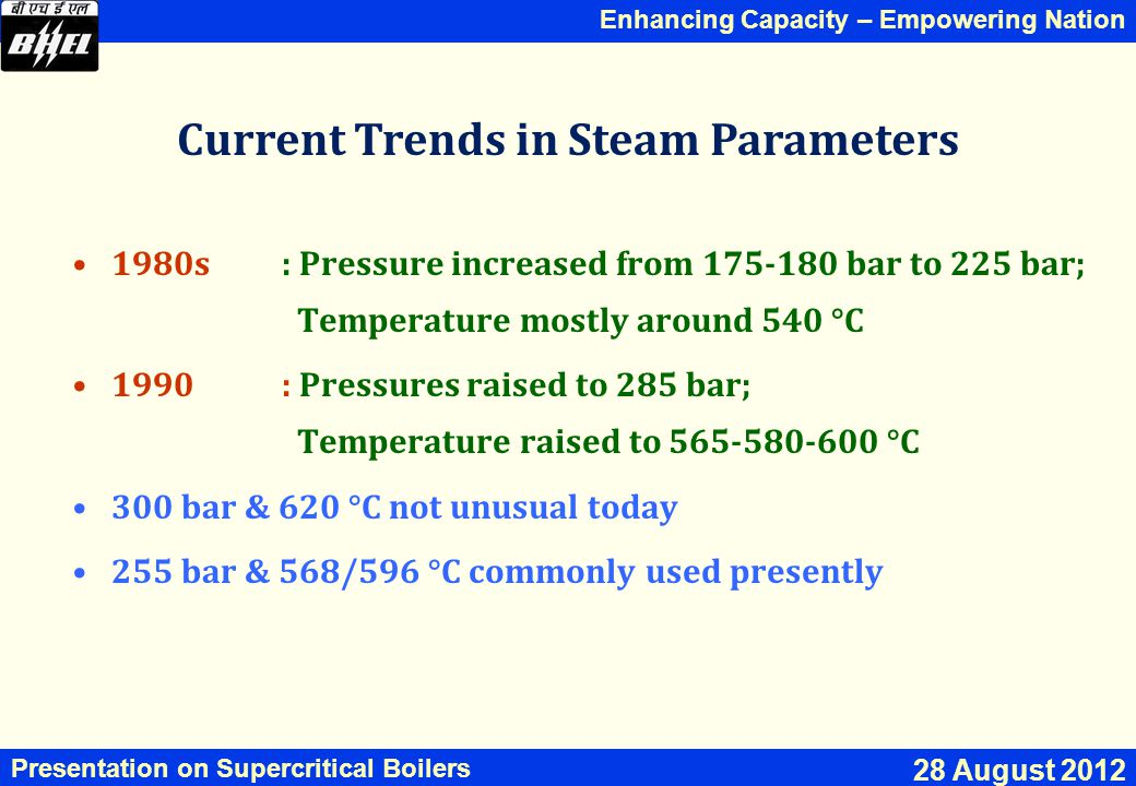 Current Trends in Steam Parameters