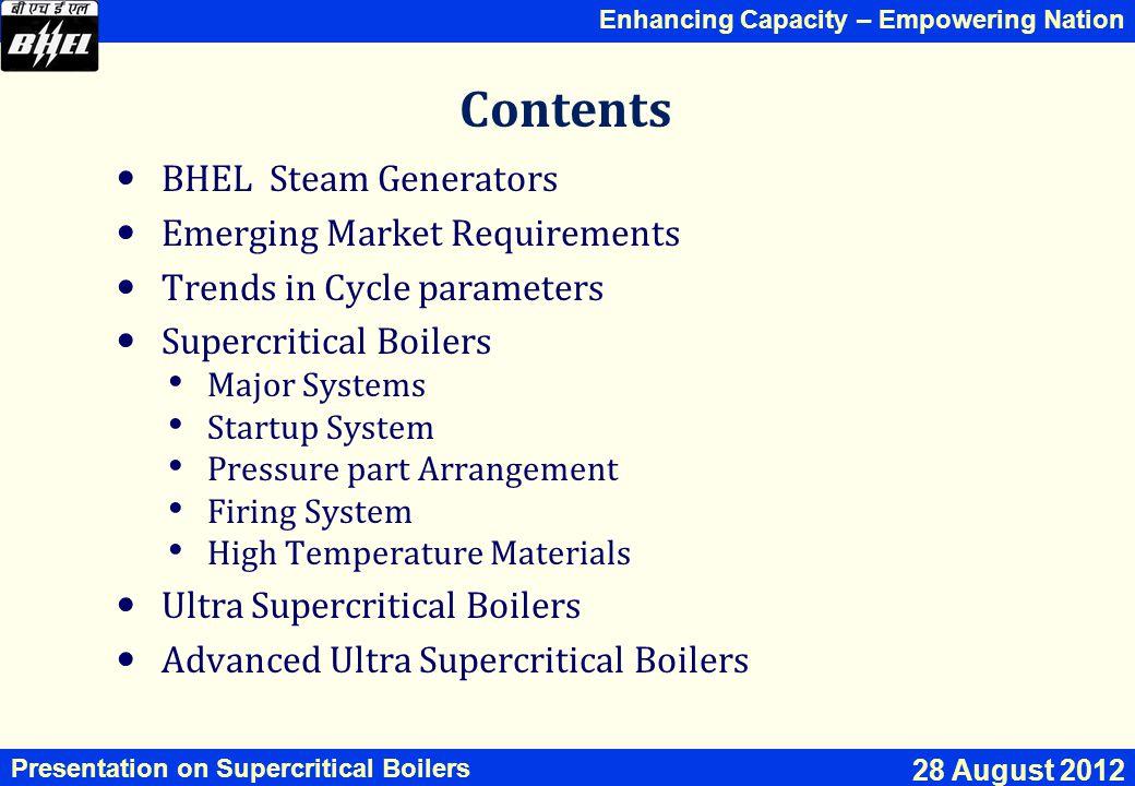 Contents BHEL Steam Generators Emerging Market Requirements