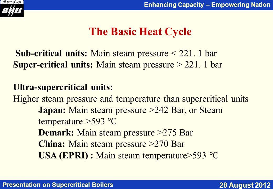 The Basic Heat Cycle Sub-critical units: Main steam pressure < 221. 1 bar. Super-critical units: Main steam pressure > 221. 1 bar.