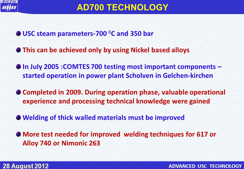 AD700 TECHNOLOGY USC steam parameters-700 0C and 350 bar