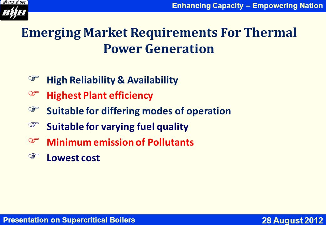 Emerging Market Requirements For Thermal Power Generation