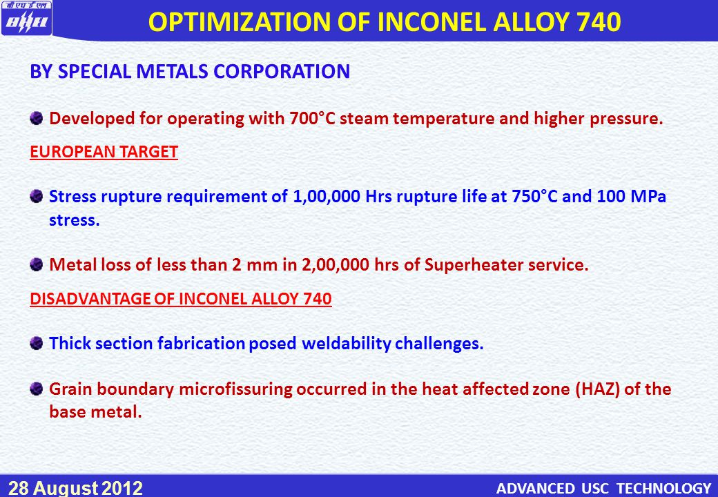 OPTIMIZATION OF INCONEL ALLOY 740