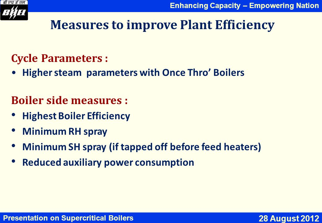 Measures to improve Plant Efficiency