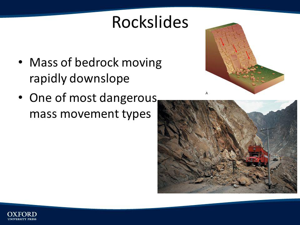 Rockslides Mass of bedrock moving rapidly downslope