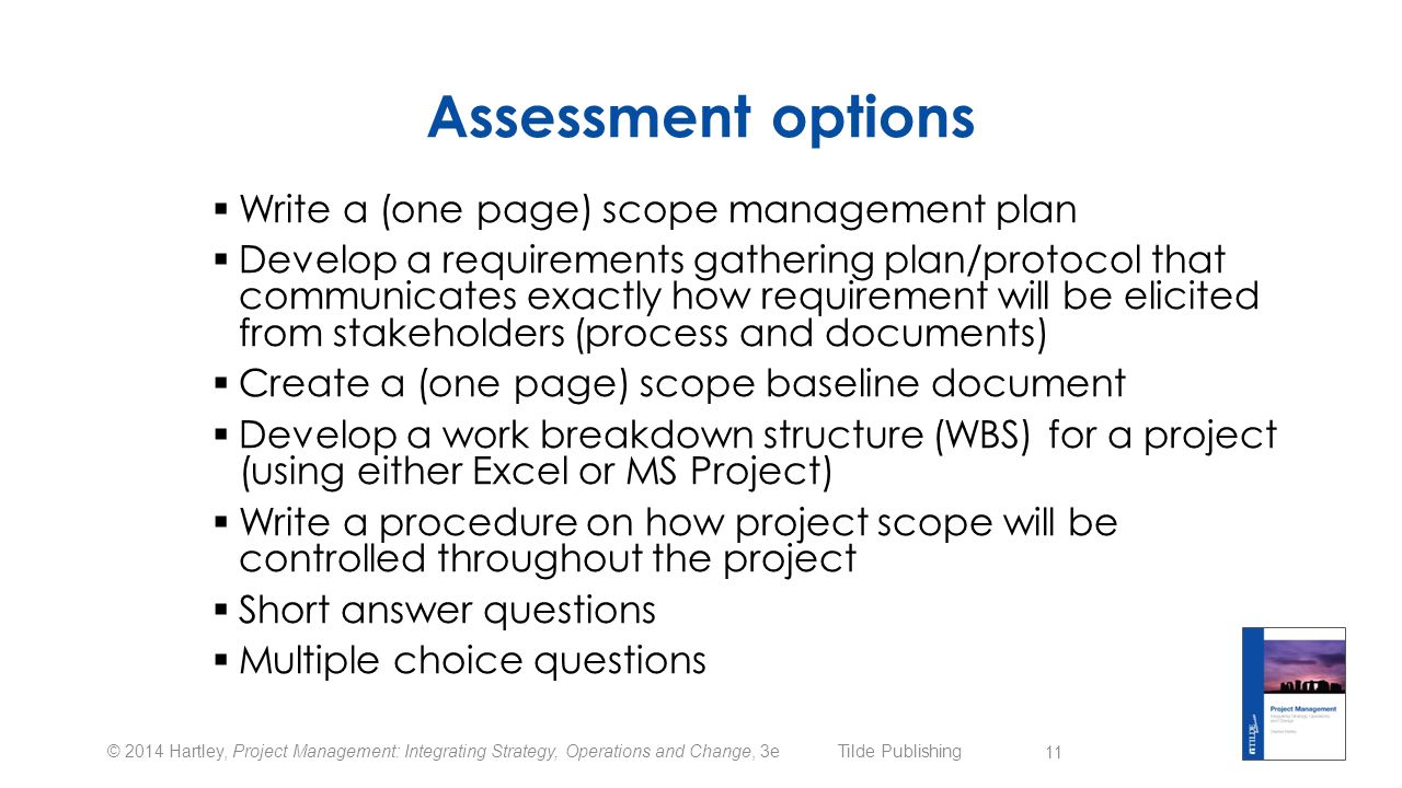 Assessment options Write a (one page) scope management plan