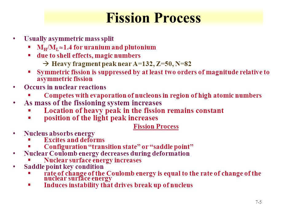 Fission Process As mass of the fissioning system increases