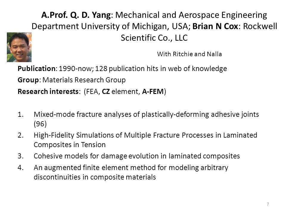 A.Prof. Q. D. Yang: Mechanical and Aerospace Engineering Department University of Michigan, USA; Brian N Cox: Rockwell Scientific Co., LLC