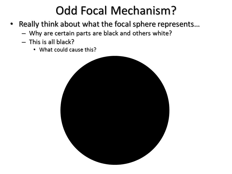 Odd Focal Mechanism Really think about what the focal sphere represents… Why are certain parts are black and others white