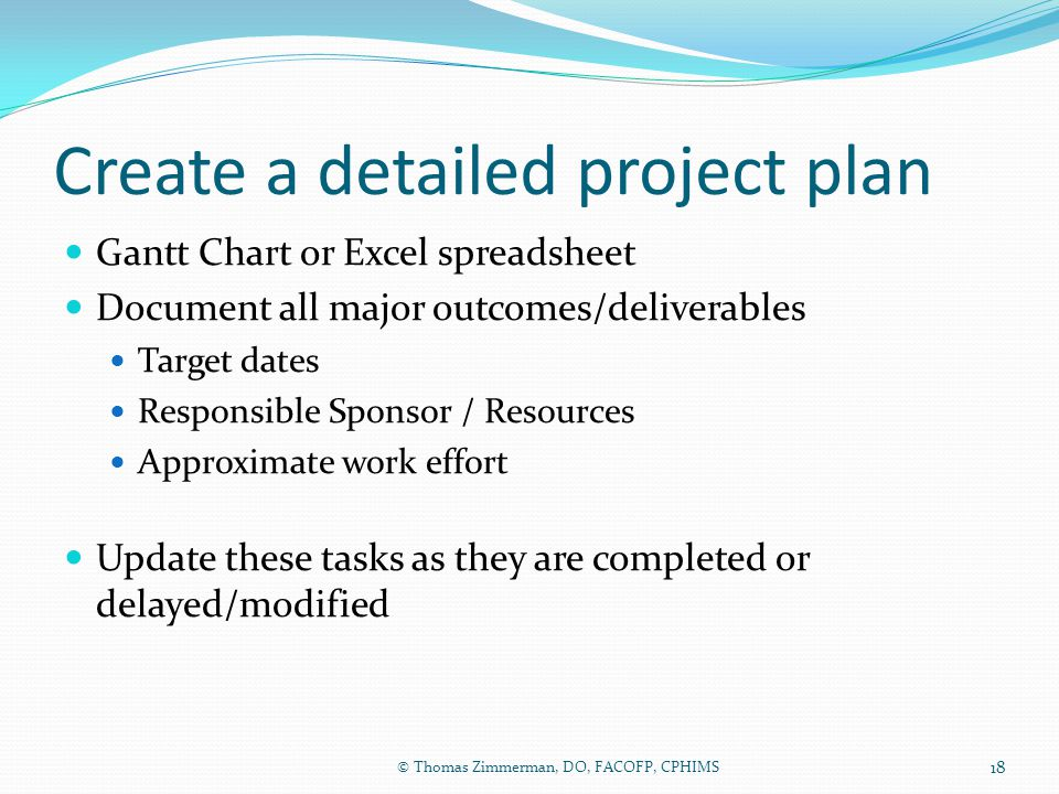 Create a detailed project plan