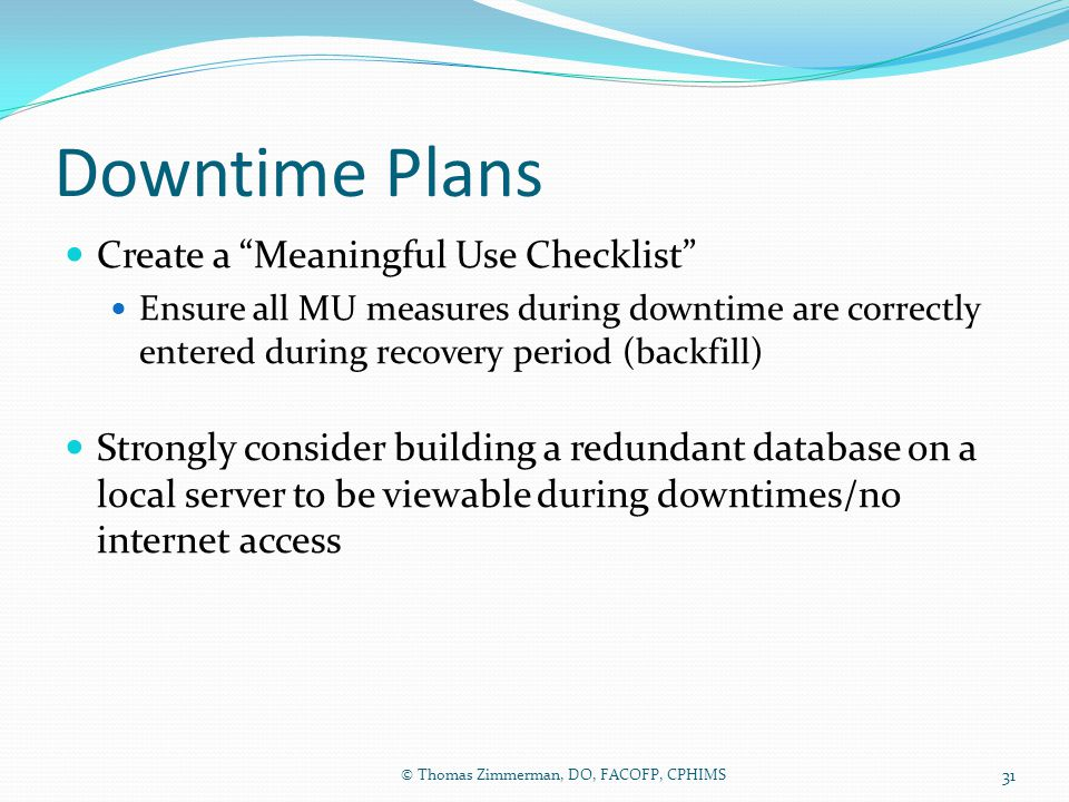 Downtime Plans Create a Meaningful Use Checklist