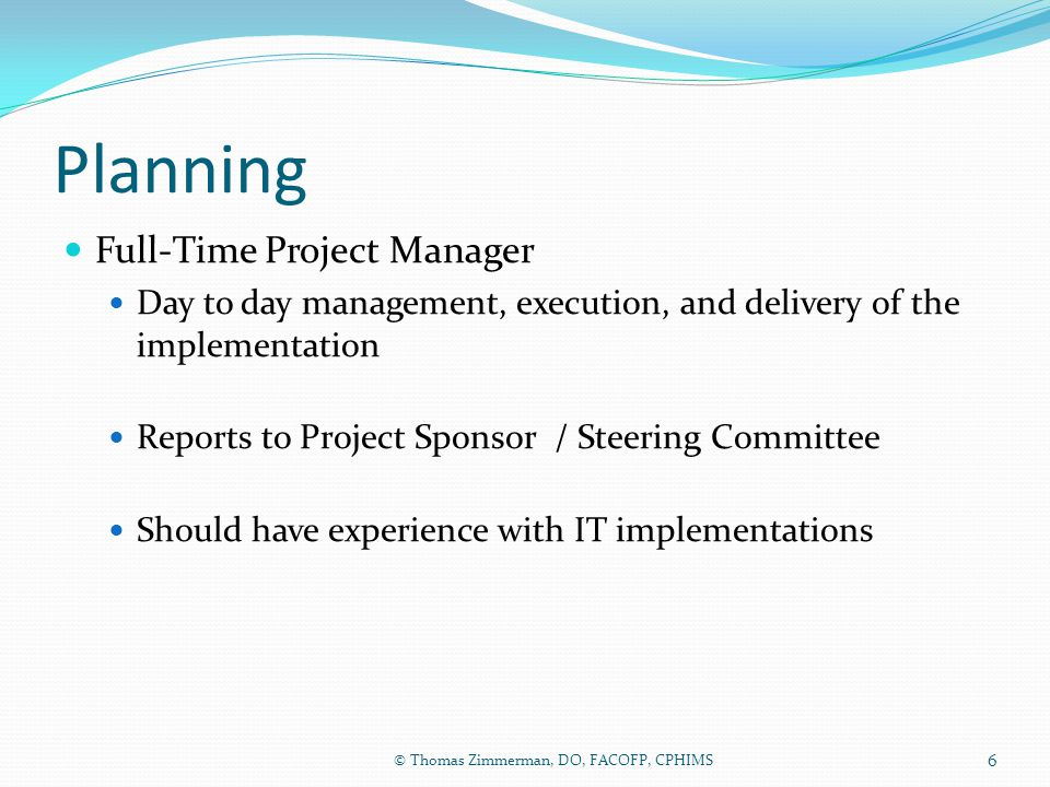 Planning Full-Time Project Manager