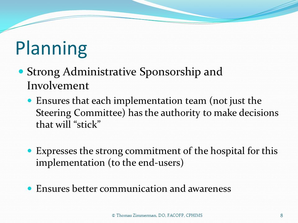Planning Strong Administrative Sponsorship and Involvement