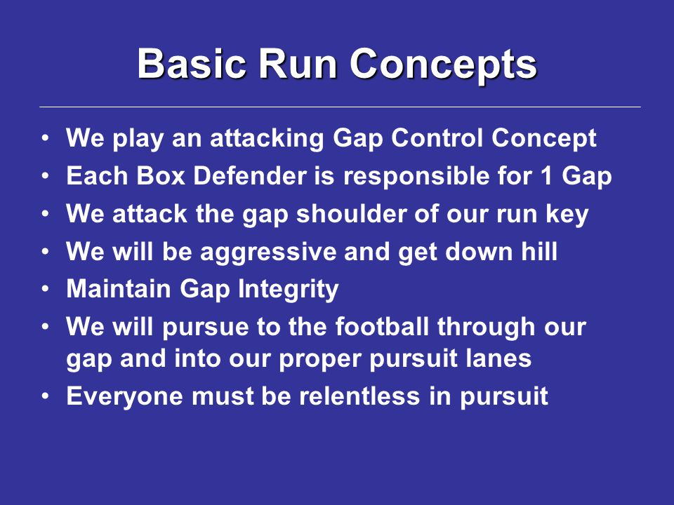 Basic Run Concepts We play an attacking Gap Control Concept