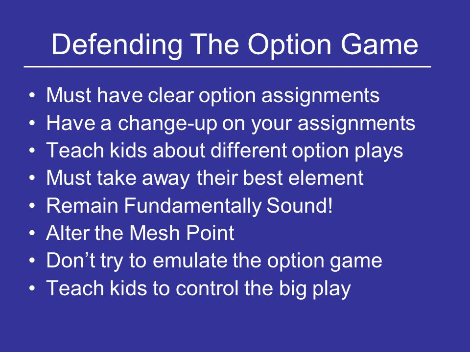 Defending The Option Game