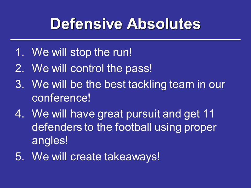 Defensive Absolutes We will stop the run! We will control the pass!