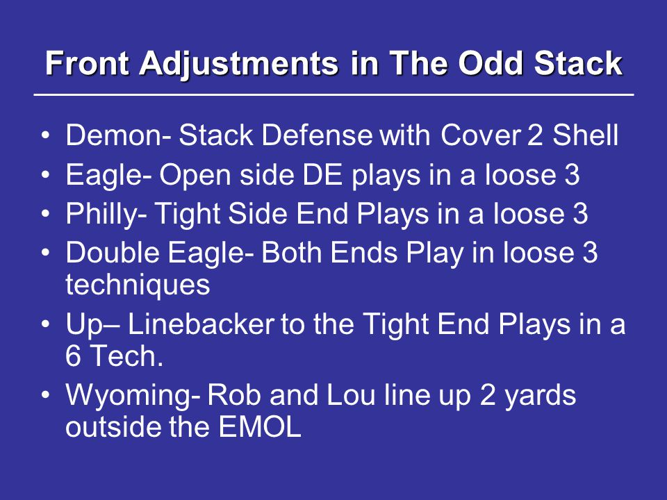 Front Adjustments in The Odd Stack