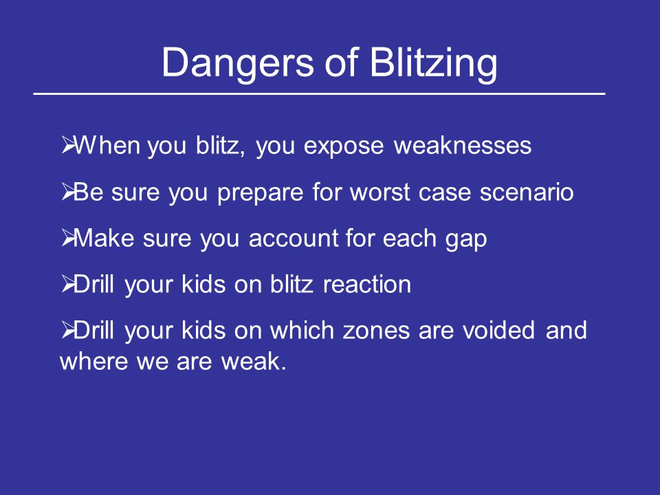Dangers of Blitzing When you blitz, you expose weaknesses