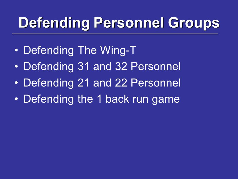 Defending Personnel Groups